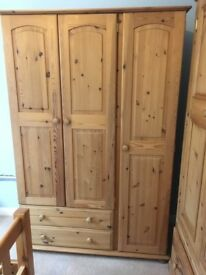 Pine double wardrobe with drawers , excellent condition