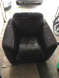 Leather Brown Armchair FREE DELIVERY