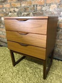 Mid century, teak, retro, 3-drawer chest, cupboard, bedside cabinet, by Europa Furniture