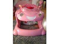 Girls Pink Mothercare Car Bouncer and Walker