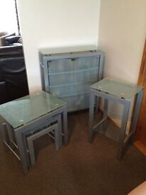 Nest of three Glass Tables, Telephone Table & Glass CD Cabinet