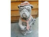 Bulldog with banjo stone ornament garden