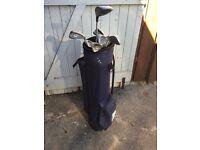 Half set of clubs with bag, balls & tees
