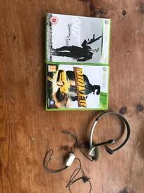 XBOX 360 Games PLUS headset