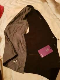 Mens next waist jacket new black with grey back