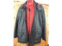 Lakeland black leather jacket, longer length with hood – generous Size 10 (would fit Size 12 also)
