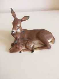 Fawn and doe ornament 'tender moment' by Nicholas Wilson 1985 official issue of the NWF