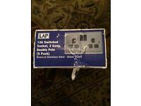 Silver Double Sockets. BNIB. 5 pack