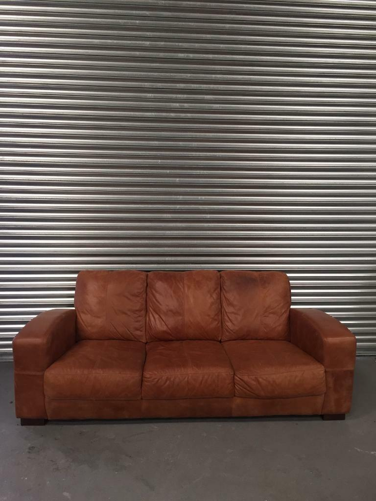Art Deco Style Tan Leather Sofa Distressed Vintage Retro Brown  ~ Leather Sofa Vintage Style