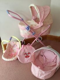 Baby Annabell pram, car seat, carry cot and bag