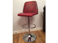 Great retro Johanson bar stool, genuine red distressed leather/chrome