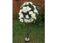 Rose tree 4ft artificial with white roses wedding decoration