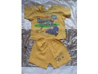 boys short sleeve t-shirt and shorts approx 1-1.5 yrs