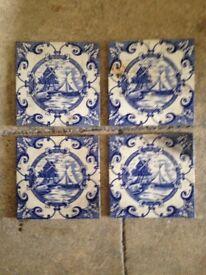 4 x Delft Style Tiles