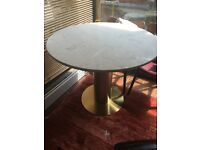 Tom Dixon dining table with marble top and brass column 90 cm nearly new