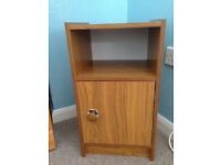 Bedside cabinet, walnut effect, excellent condition