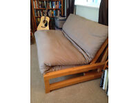 Fantastic solid wood futon with mattress from FUTON company with washable cover, great condition