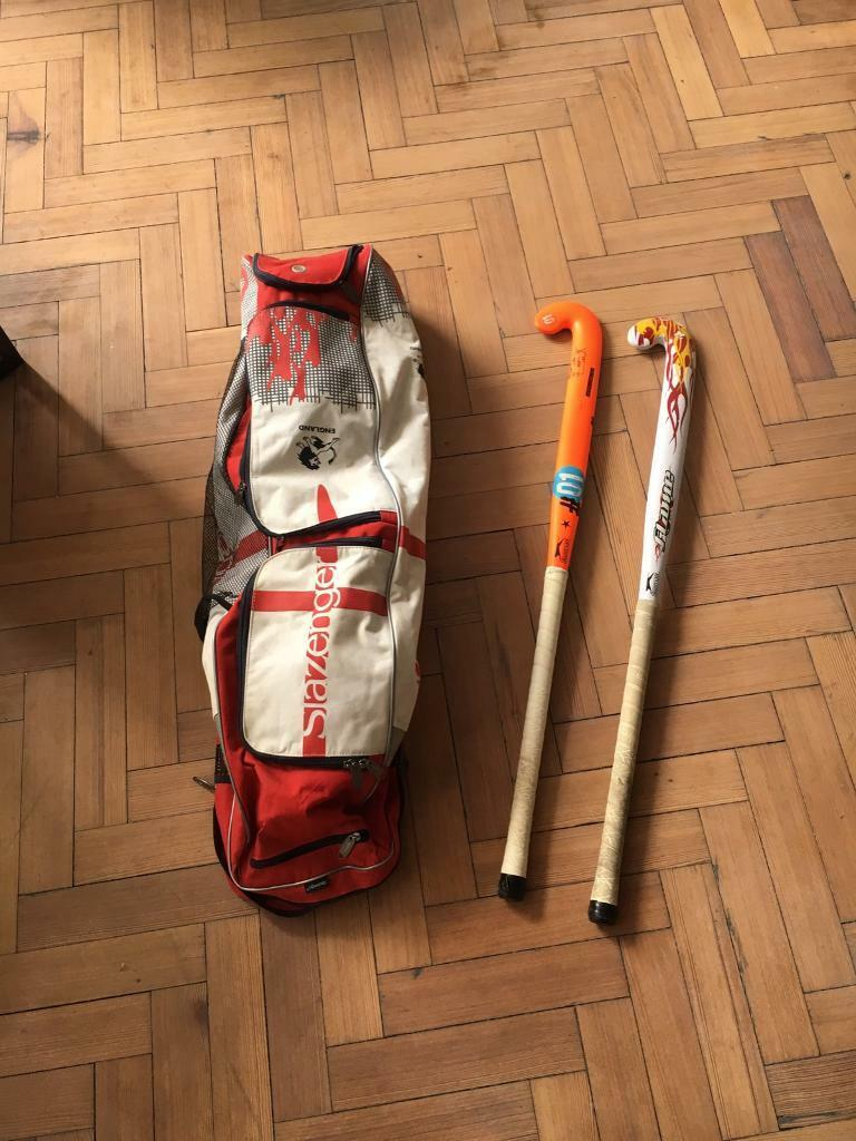 Two Slazenger hockey sticks plus bag