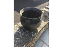 Black metal cauldron for garden