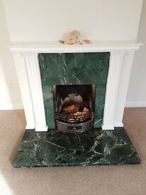 COMPLETE FIREPLACE GREEN BLACK MARBLE? HEARTH STONES MANTELPIECE GRATE SURROUND