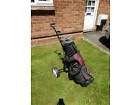 Pinseeker Golf clubs, bag and trolley