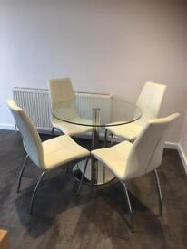 M&S glass table/next chairs