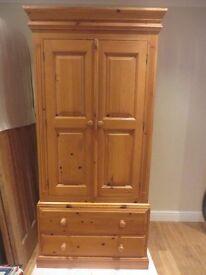 Solid Pine 2 door and 2 drawer Combi Wardrobe