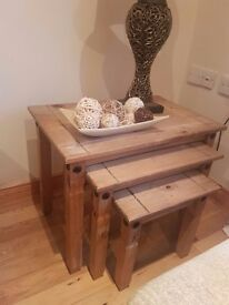 SOLD Mexican pine nest of tables SOLD