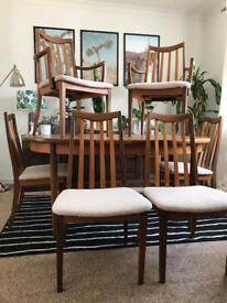 Vintage Gplan Dining Table and 6 Chairs