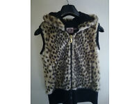 Juicy Couture Leopard Faux Fur/Black Zip Up Hooded Sleeveless Jacket