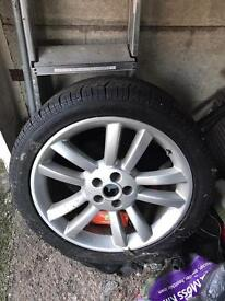 4 No. Jaguar XJR 19 inch alloy wheels and newish Perelli tyres