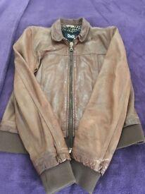 Dolce &Gabbana leather brown jacket size uk 8-10 hardly worn