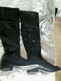 2 PAIRS OF THIGH BOOTS, Leather and one Sued