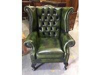 Green Chesterfield Wingback Chair Immaculate Condition