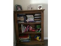 Tv cabinet, table and 4 chairs(with seat pads) and bookcase