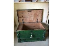 Antique Seaman's Storage Chest Green with working key