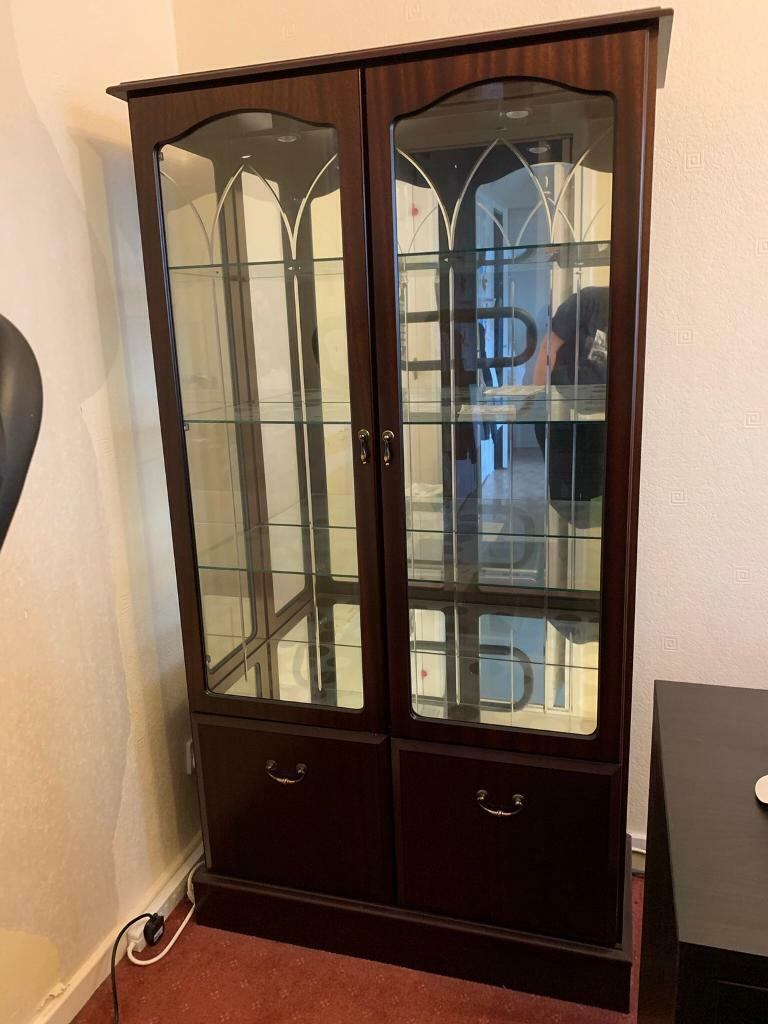 Glass Display Cabinet with mains powered lights.   Gumtree