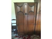 Antique Bedroom suite Ladies and Gents Wardrobe dressing table bed side cabinet & bed