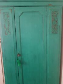 Great shabby chic wardrobe or hall cupboard. Single rail and drawer.