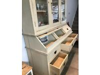 Charming, solid-wood, painted kitchen dresser