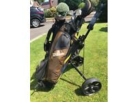 Golf set Wilson fat shafts clubs with bag & trolley