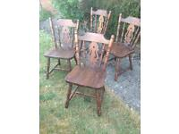 Pine dining table and 4 chairs.