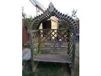 Wooden trellis garden arbour seat