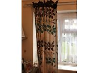Curtains cream biege fully lined tab tops
