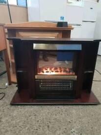 Dark wood electric fire