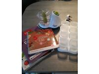 Tommee Tippee blender with freezer pots and weaning books