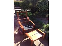 Used IKEA Poang armchair and footstool- black/cherry