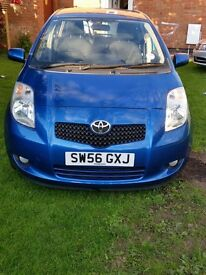 Toyota Yaris 2007 1.3 petrol five door blue colour new shape 87,000 mileage very low price £2599