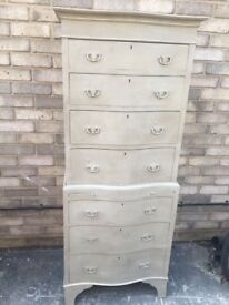 CHEST OF DRAWERS TALL BOY BOW FRONTED TALL 2 PARTS FRENCH GREY