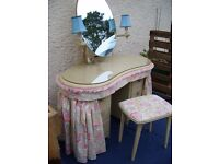 Vintage kidney shaped mirrored dressing table plus stool - vanity set - makeup girl dresser- c.1957